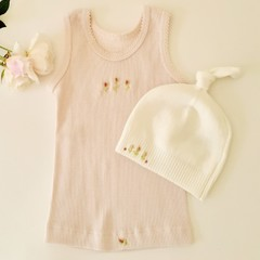 Hand-Embroidered Pink Baby Singlet & Winter BONDS Beanie BabyShower Gift Newborn