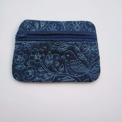 Denim embroidered Coin Purse