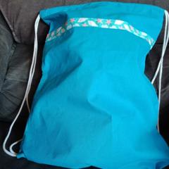 Turquoise sports / swimming drawstring bag