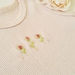 Hand-Embroidered Rosebud Pink Newborn Singlet Baby Gift Baby Shower