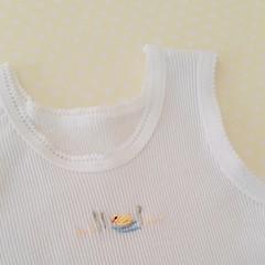 Hand-Embroidered Duck Newborn Baby Singlet Baby Shower Gift Baby Boy/Girl