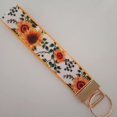 Sunflower print key fob wristlet