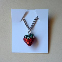 Silver strawberry charm necklace