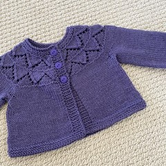 Purple  Cardigan - Size 3-6 monthsHandknitted in pure wool