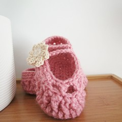 Pink flower ballet slippers