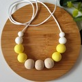 EVERYDAY NECKLACE - Lemon, White Silicone Beads and Eco wood Beads