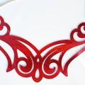 Red Shimmer, Genuine Leather, Ornate Bib Necklace