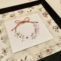 Floral Wreath Metalllic Blank Greeting Card Wedding/Anniversary/Mother/Birthday