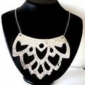 Silver Snakeskin Print, Genuine Leather Lotus Flower Necklace