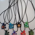 Turtle charm cord necklaces