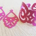 Fuscia Pink Cuff Bracelet/ Earring Set