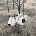 Baby Cygnet Go Cart Tyre Swan HANGING pot plant holder retro revival recycle