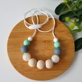 EVERYDAY NECKLACE – Mint, Grey, Pearl Silicone Beads and Eco Wood Beads