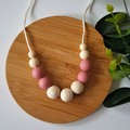 EVERYDAY NECKLACE - Blush Pink & Cream Silicone Beads and Eco Wood Beads.