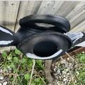 Retro Revival Tyre swan art MAGPIE Bird Feeder Hanging Basket Planter Statue
