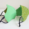 Green floral polka dots 3 layers face mask   Reversible  Face cover