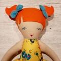 Indie - Handmade rag doll, ready to ship