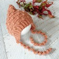 Peachl Crochet Newborn Bobble Baby Pixie Bonnet Beanie Hat