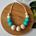EVERYDAY NECKLACE – Turquoise, & Pearl Silicone Bead and Eco Wood Bead.