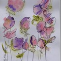 Stationery Set 1 - Notepad and 3 cards - watercolour flowers - handmade
