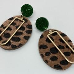 Leopard print & gold alloy earrings