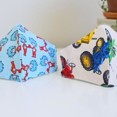 Child Washable 3 layers face mask  Reversible Thing 1 & Thing 2 Car fabric