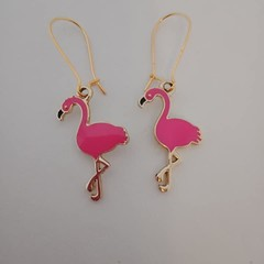 Gold and pink flaming charm earrings