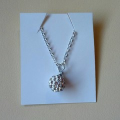 White crystal ball charm silver necklace