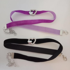 Velvet chokers with silver hearts