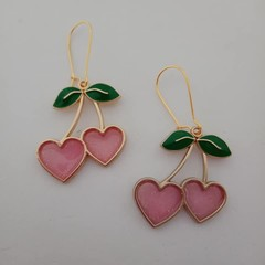 Gold and pink cherry heart earrings