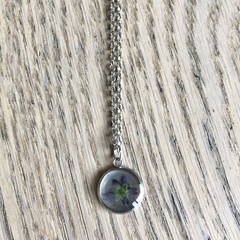 Small Silver Pendant Necklace with real flowers (wild flower)