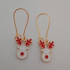 White reindeer charm Christmas earrings