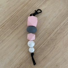 Pretty in pink silicone bead keyring