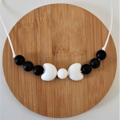 BLACK & WHITE  BOW – SILICONE CHEWABLE NECKLACE
