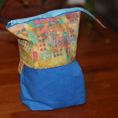 Slide Down Pencil Case - Blue Batik design - (Comes empty)