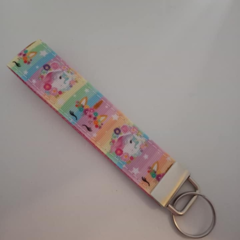 Unicorn print key fob wristlet