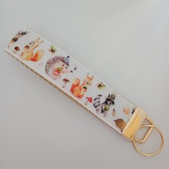 Woodland animal deer / squirrel print key fob wristlet