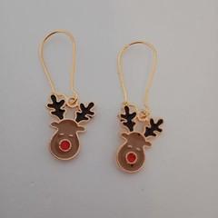 Brown reindeer charm Christmas earrings