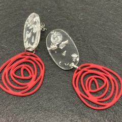 Red rose silhouette earrings