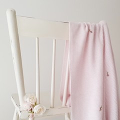 Hand-Embroidered CottonKnit Girl Pink Baby Blanket Bassinet/Cot/Pram Baby Gift
