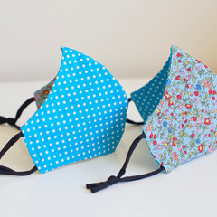 Blue floral polka dots 3 layers face mask | Reversible Face cover