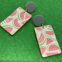 Watermelon print earrings