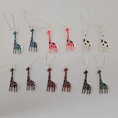 Silver enamel giraffe charm earrings