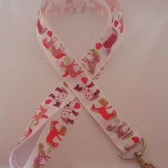 White and pink horse lanyard / ID holder / badge holder