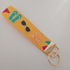 Yellow Summer beach print key fob wristlet