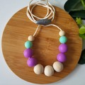 EVERYDAY NECKLACE - Purple & Mint Silicone Beads and Eco Wood Beads.