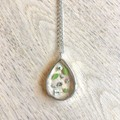 Silver Framed Teardrop Pendant Necklace with real foliage & flowers