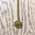Medium Gold Pendant Necklace with real flowers (Golden Rod)