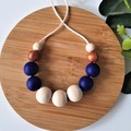 EVERYDAY NECKLACE - Navy Blue & Cooper Silicone Beads and Eco Wood Beads.
