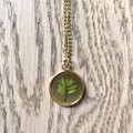 Large Gold Pendant Necklace with real foliage (Thryptomene)